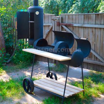 мангал троян с коптильней на колесах для дачи