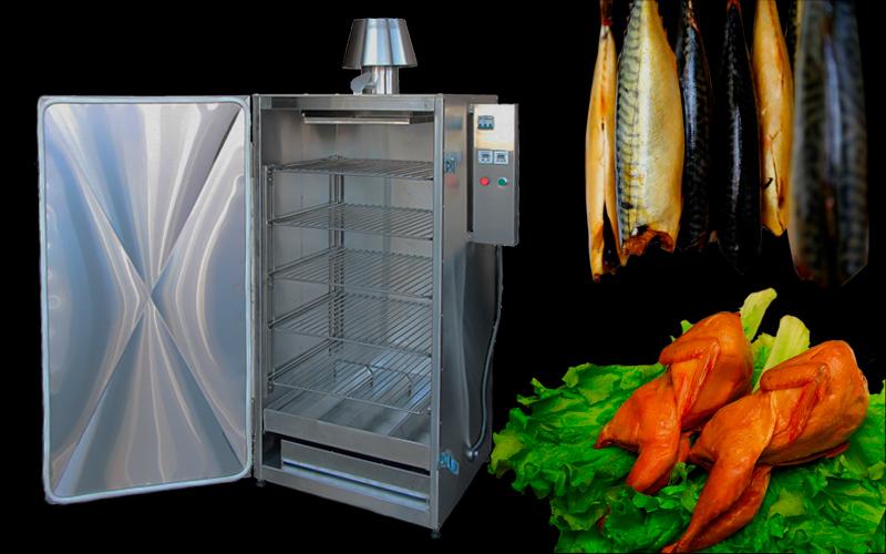 Коптильный шкаф, Электрическая коптильня 5 уровней из нержавейки на 60 кг загрузки