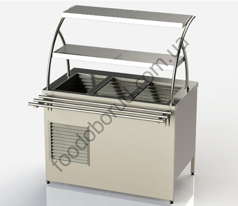 Купить холодильный прилавок линии раздачи с охлаждаемым боксом и двумя полками от производителя  с доставкой по Украине цена 0 грн.